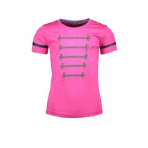 T-shirt with silver cord detail on chest pink glo