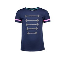 T-shirt with silver cord detail on chest space blue