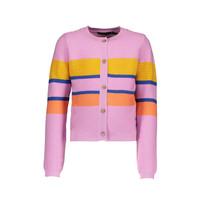 vest AuraB fine knit with multi clr stripes pink lady