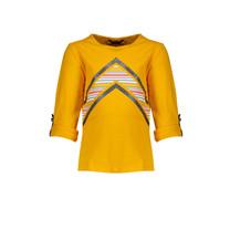 longsleeve Kara roll-up with v print warm yellow