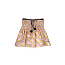 rok Noosa multi clr stripe with smocked waist and rib belt with pompoms warm yellow