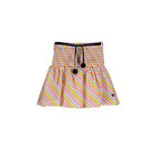 Nono rok Noosa multi clr stripe with smocked waist and rib belt with pompoms warm yellow