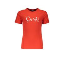 T-shirt Kanoux Ca Va with stripes at sleeve fresh tomato