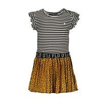 jurkje ruffle jersey with ao oker plisse skirt oker