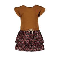 jurkje metallic jersey with flower skirt oker