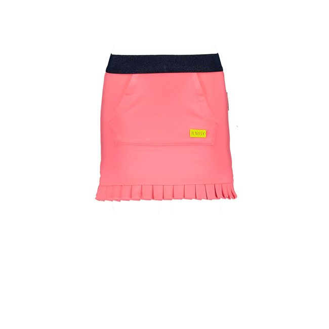 B.Nosy rok with pocket on front panel and plissé detail at hem festival pink