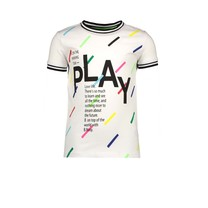 T-shirt with multi color panel print star white