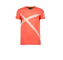 B.Nosy T-shirt long with printed slanted B.nosy tapes neon red