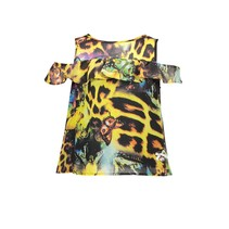 T-shirt off-shoulder leopard green victory