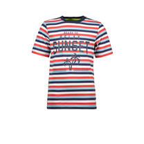 T-shirt stripe sunset red