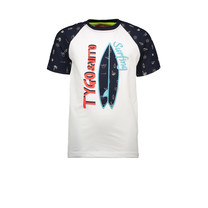 T-shirt contrast sleeve aop summervibes white