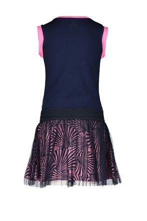 B.Nosy jurk with solid top, shell ao skirt with netting plissé layer space blue
