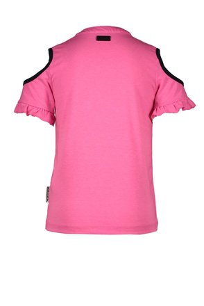 B.Nosy T-shirt knot with open shoulders and embroidery on chest sugar plum
