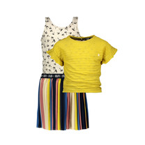 jurk 2pc multi stripe dress with plisse skirt and yellow top citrus