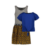 jurk 2pc viscose dot with ao panter skirt and knotted stripe tee cobalt