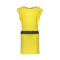 jurk viscose dot ruffle loose belt yellow