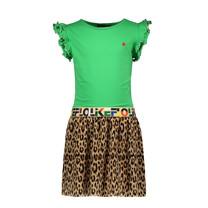 jurk green with ao panter plisse skirt