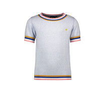 T-shirt knitted with striped ribbings blue