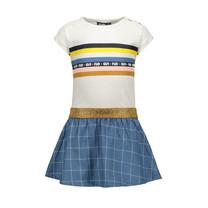 jurk slub jersey rainbow check denim skirt
