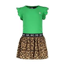 jurk ruffle jersey with panter plisse skirt green