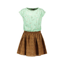 jurk Meryl aop leopard and perforated suede skirt mint