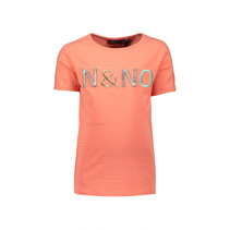 T-shirt Kusol with nono embroidery pink coral