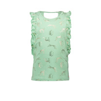 singlet Kopa with aop leopard and ruffled edge details mint