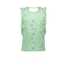 Nono singlet Kopa with aop leopard and ruffled edge details mint