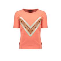 T-shirt Kamou half sleeve with v-shape camou print pink coral