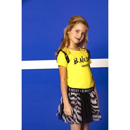 B.Nosy B.Nosy jurk with zebra ao printed netting skirt lemon