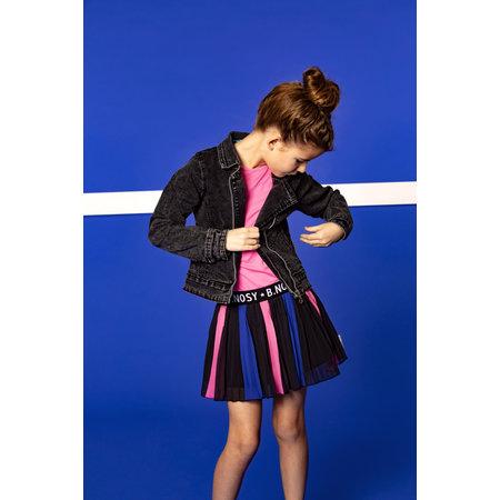 B.Nosy B.Nosy jurk with printed plissé skirt and solid top sugar plum