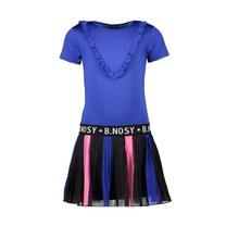 jurk with printed plissé skirt and solid top princess blue