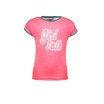 T-shirt with chest artwork and contrast binding festival pink