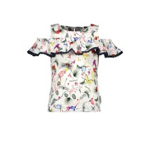 top with vertical ruffle and pompom details birdy