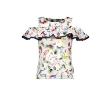 B.Nosy top with vertical ruffle and pompom details birdy