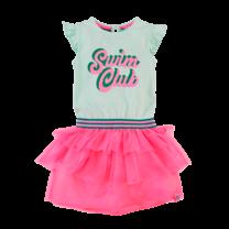 jurk Paulien mighty mint/neon pink