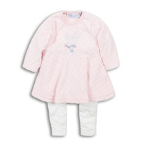2-delig setje jurk en legging pink + off white