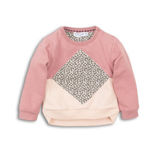 Dirkje meisjes trui dark old pink + faded peach + aop