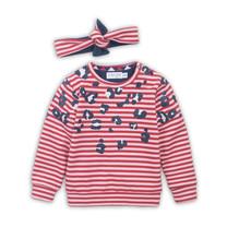 meisjes trui + haarband red + pink