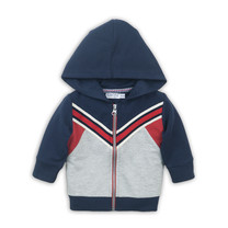 jongens vest grey melee + red + navy