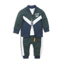 jongens 3-delig setje green + off white + navy