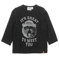 jongens longsleeve It's great zwart melange - Bear Hugs
