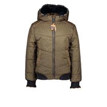 winterjas Bella hooded jacket aop pebblestone with fancy ribcuff army green