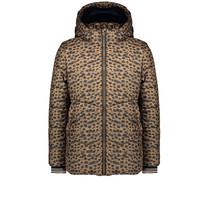winterjas Briana hooded half long jacket aop cheeta with fur animal