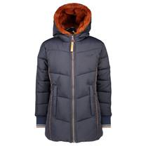 winterjas Brooklynn hooded long jacket navy blazer