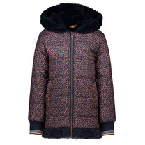 winterjas Brielle halflong hooded jacket pabblestone aop navy blazer