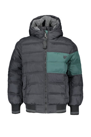 Bellaire winterjas Bass hooded jacket with contrast on chest and arm and rib cuffs jet black