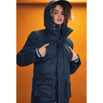 winterjas Bowan parka hooded with reflective piping in the hood navy blazer