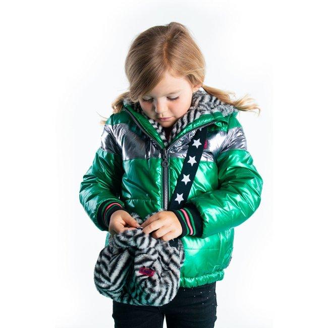 B.Nosy meisjes winterjas reversible jacket with zigzag fur and metallic shell jade green