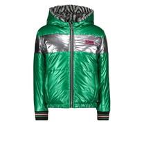 meisjes winterjas reversible jacket with zigzag fur and metallic shell jade green